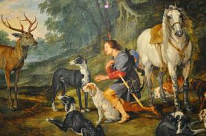 La vision de St Hubert par Peter Paul Rubens and Jan Brueghel (1620).